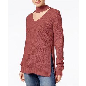 Planet Gold Cutout Turtleneck Sweater